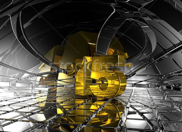 Szám tizenöt absztrakt futurisztikus űr 3d illusztráció Stock fotó © drizzd