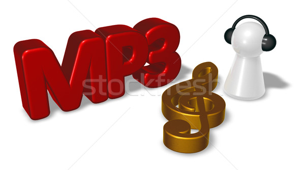 Mp3 membro símbolo fones de ouvido 3D Foto stock © drizzd