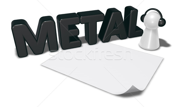 metal tag, blank white paper sheet and pawn with headphones - 3d rendering Stock photo © drizzd