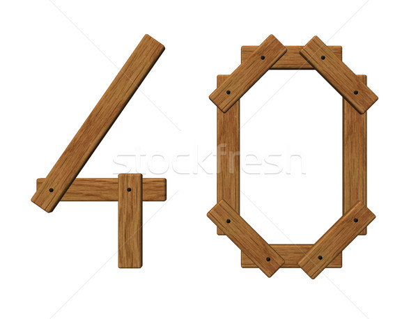 wooden number forty Stock photo © drizzd