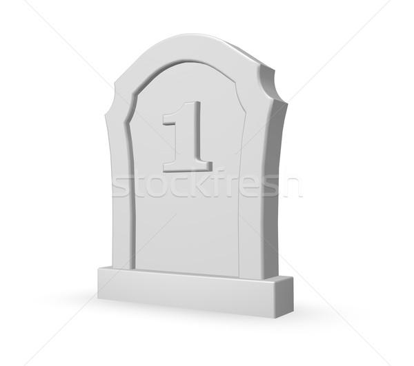 第一 死 墓碑 白 3d圖 死亡 商業照片 © drizzd
