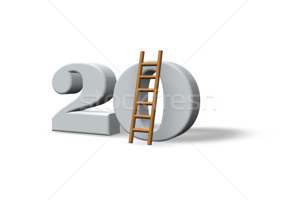 Vinte número 20 escada branco ilustração 3d Foto stock © drizzd