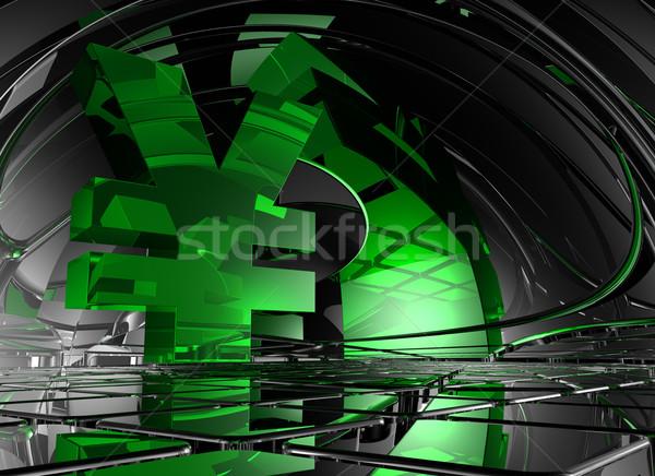 Yen szimbólum absztrakt űr 3d illusztráció fém Stock fotó © drizzd