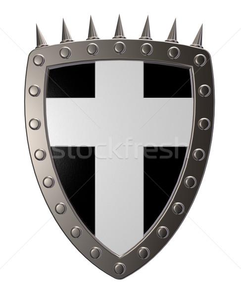 Christian cruz metal escudo blanco 3d Foto stock © drizzd