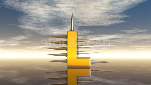 Letter l metaal bewolkt hemel 3d illustration wolken Stockfoto © drizzd