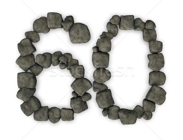 числа шестьдесят 3d иллюстрации летию отражение Сток-фото © drizzd