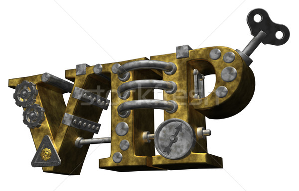Steampunk vip lettres style 3d illustration métal Photo stock © drizzd