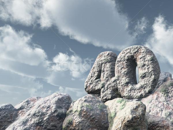 Nombre quarante Rock nuageux ciel bleu 3d illustration Photo stock © drizzd