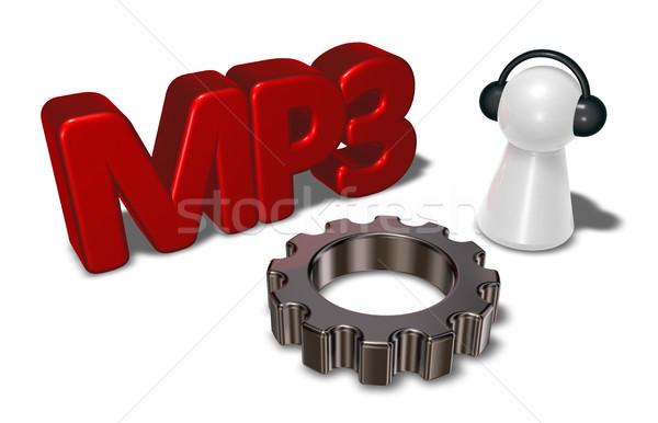 Mp3 címke viselet kerék gyalog fejhallgató Stock fotó © drizzd