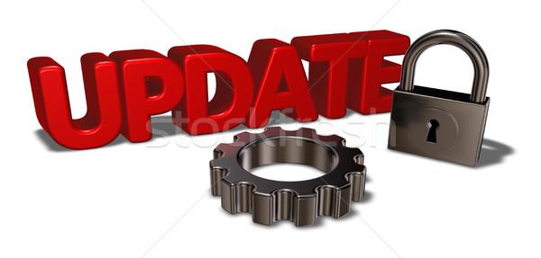 Słowo aktualizacja kłódki narzędzi koła 3D Zdjęcia stock © drizzd