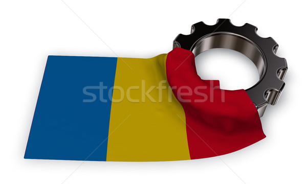gear wheel and flag romania - 3d rendering Stock photo © drizzd