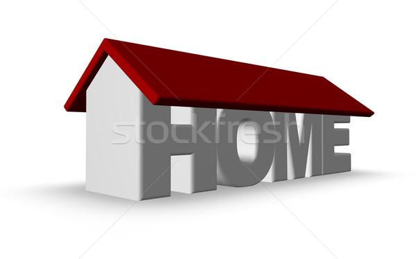 Domu słowo 3d ilustracji budowy dachu Zdjęcia stock © drizzd