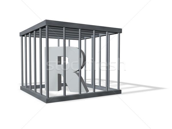 Nagy ketrec r betű fehér 3d illusztráció biztonság Stock fotó © drizzd