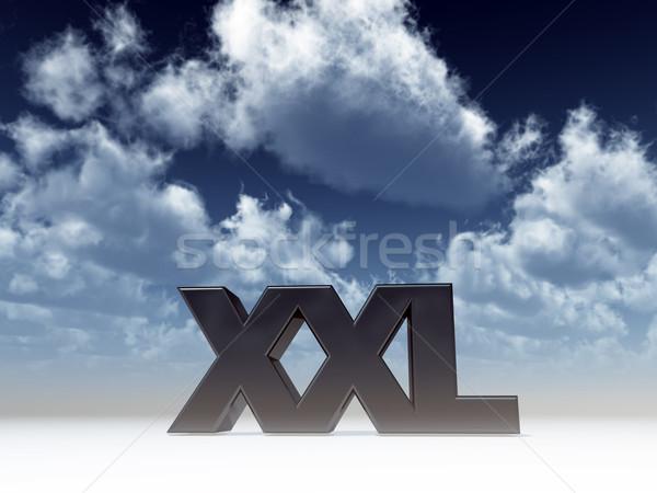 Xxl litery Błękitne niebo 3d ilustracji chmury metal Zdjęcia stock © drizzd