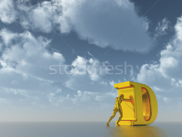 Сток-фото: человека · Рисунок · буква · d · облачный · Blue · Sky