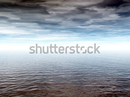 Powierzchnia wody mętny niebo 3d ilustracji chmury morza Zdjęcia stock © drizzd