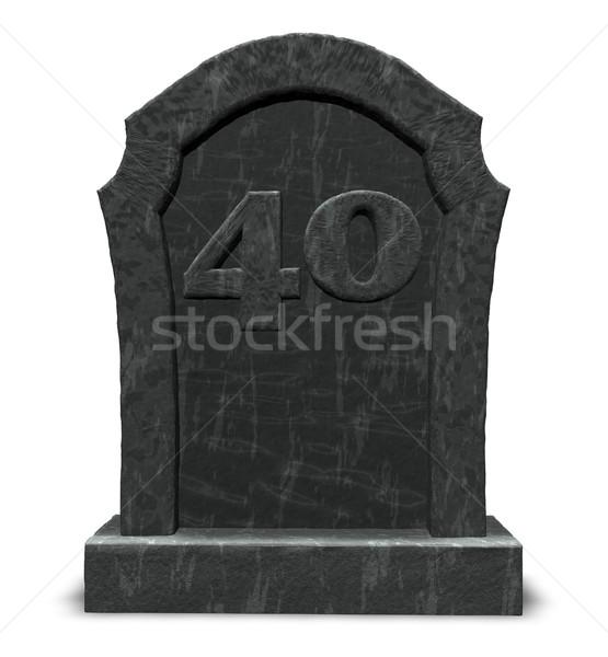 Numer czterdzieści nagrobek biały 3d ilustracji śmierci Zdjęcia stock © drizzd
