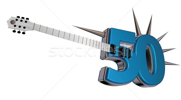 Número cinqüenta guitarra branco ilustração 3d música Foto stock © drizzd