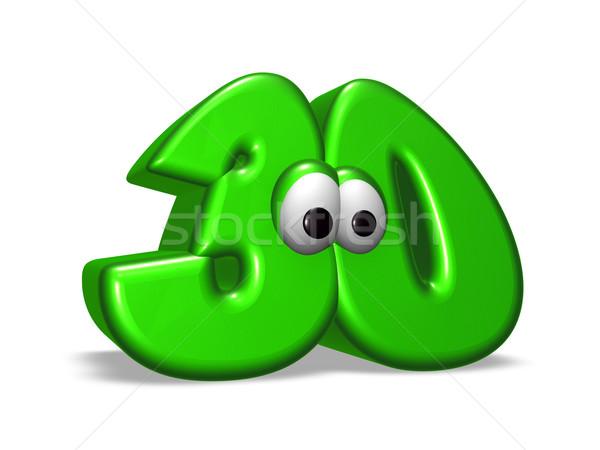 Cartoon числа тридцать глазах белый 3d иллюстрации Сток-фото © drizzd