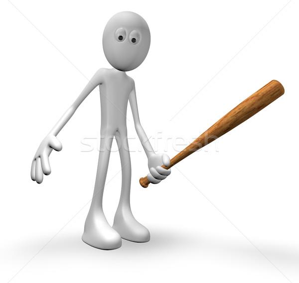 Cara taco de beisebol ilustração 3d madeira jogo em pé Foto stock © drizzd