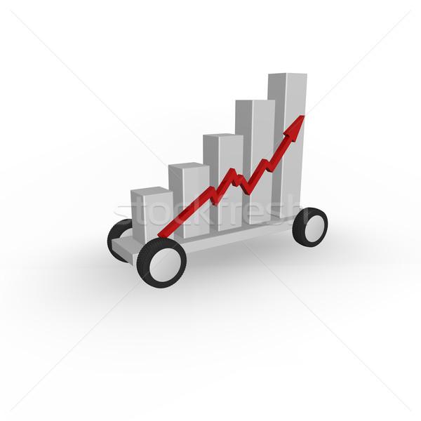 Spedizione statistiche grafico di affari ruote illustrazione 3d abstract Foto d'archivio © drizzd