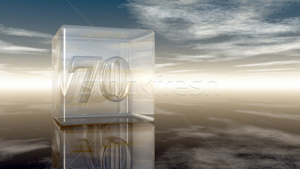 number seventy in glass cube under cloudy sky - 3d rendering Stock photo © drizzd
