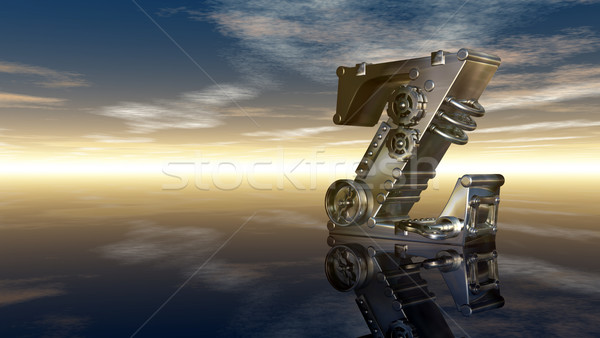 machine letter z under cloudy sky - 3d illustration Stock photo © drizzd