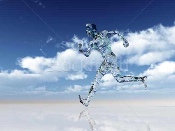 Vetro runner esecuzione uomo nuvoloso cielo blu Foto d'archivio © drizzd