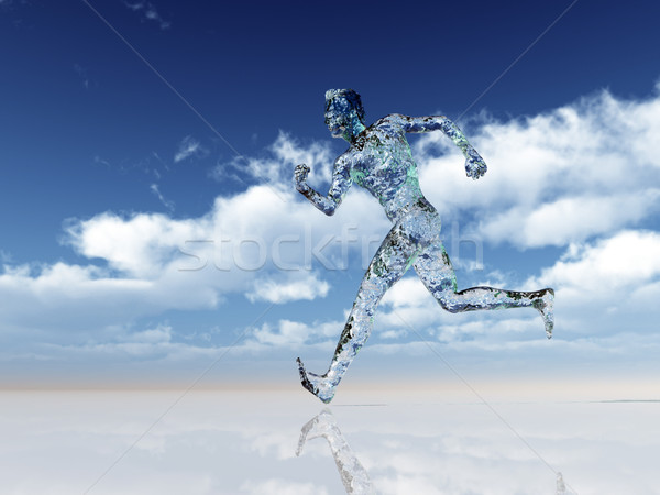 стекла Runner работает человека облачный Blue Sky Сток-фото © drizzd
