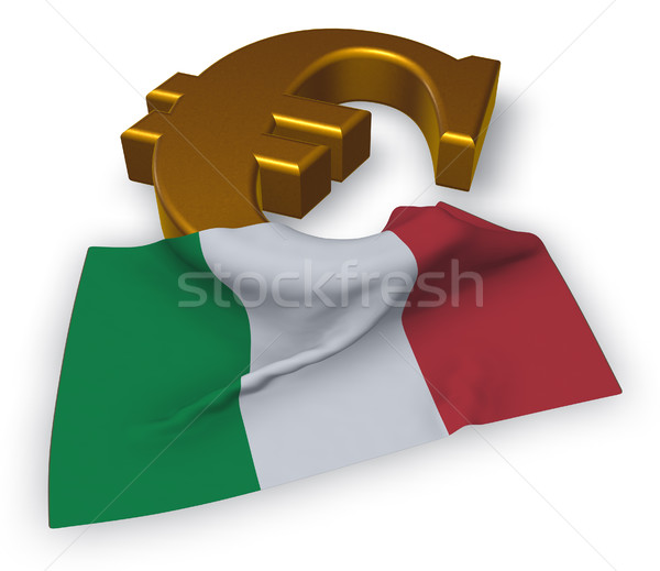 euro symbol and italian flag - 3d illustration Stock photo © drizzd