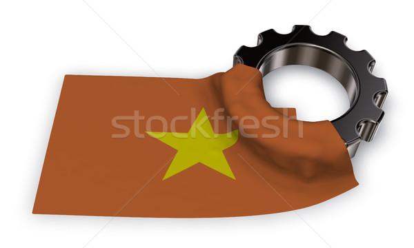 Stockfoto: Versnelling · wiel · vlag · 3D · bouw