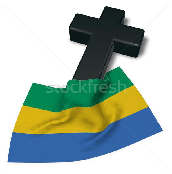 Christian cross bandiera Gabon 3D Foto d'archivio © drizzd