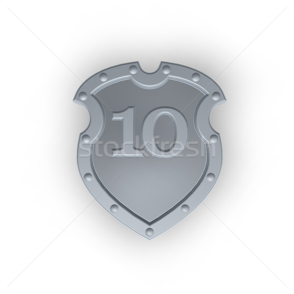 Emblema número 10 metal escudo diez Foto stock © drizzd