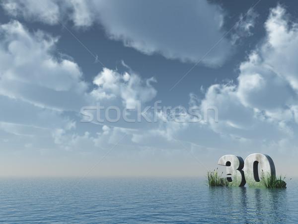 30 тридцать числа каменные океана 3d иллюстрации Сток-фото © drizzd