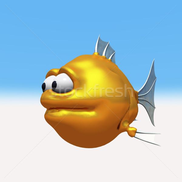 странно Goldfish 3d иллюстрации воды рыбы плаванию Сток-фото © drizzd