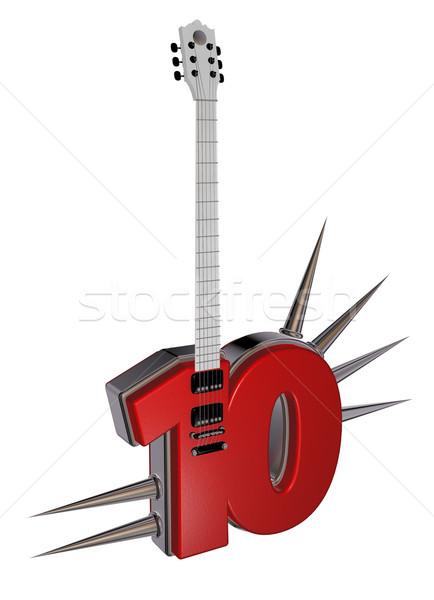 Сток-фото: числа · десять · гитаре · белый · 3d · иллюстрации · металл