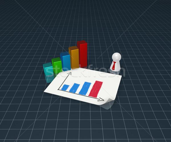 Grafico di affari giocare figura cravatta illustrazione 3d carta Foto d'archivio © drizzd