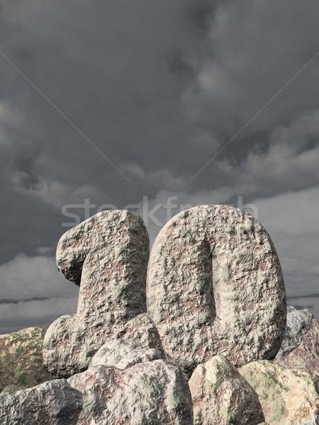 Número dez rocha nublado céu ilustração 3d Foto stock © drizzd