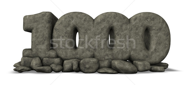 stone number thousand on white background - 3d rendering Stock photo © drizzd