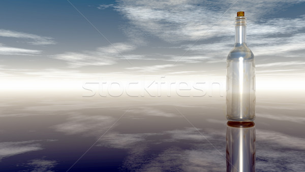 message in a bottle under cloudy sky  - 3d illustration Stock photo © drizzd