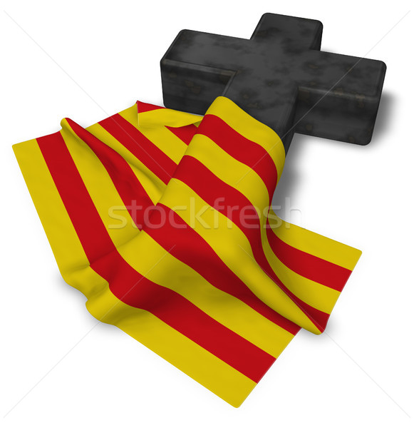 christian cross and flag of catalonia - 3d rendering Stock photo © drizzd