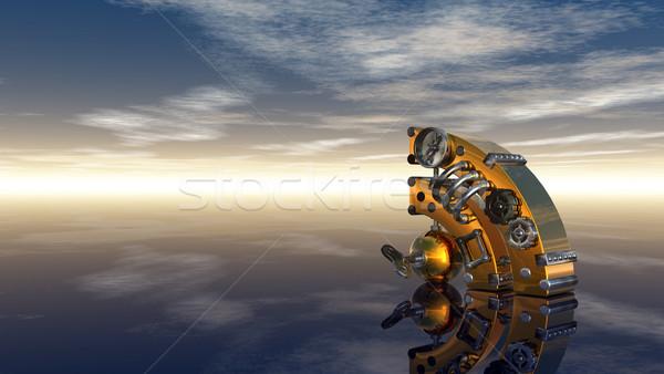 Rss steampunk simbolo nuvoloso cielo blu illustrazione 3d Foto d'archivio © drizzd