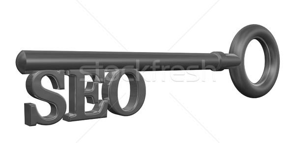 Seo anahtar Metal etiket 3d illustration bilgisayar Stok fotoğraf © drizzd