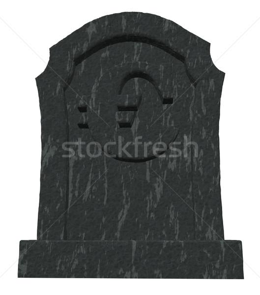 Halott Euro sírkő szimbólum fehér 3d illusztráció Stock fotó © drizzd