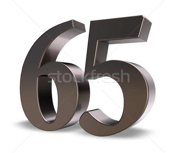 Aantal zestig vijf metaal witte 3d illustration Stockfoto © drizzd