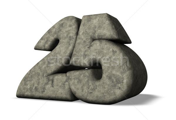 Foto stock: Pedra · número · vinte · cinco · branco · ilustração · 3d