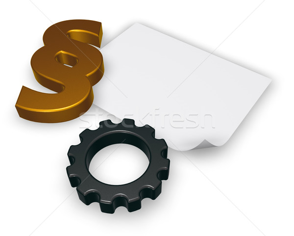 cogwheel and paragraph symbol - 3d rendering Stock photo © drizzd