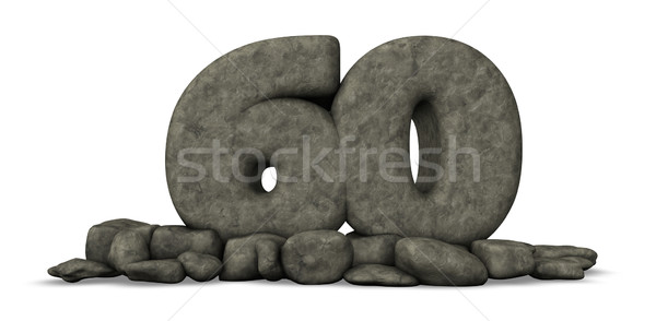 stone number sixty on white background - 3d rendering Stock photo © drizzd