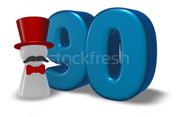 Szám gyalog kalap szakáll 3D renderelt kép Stock fotó © drizzd