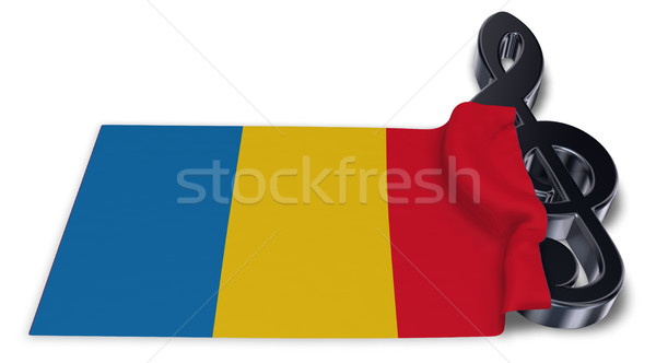 clef symbol and flag of romania - 3d rendering Stock photo © drizzd